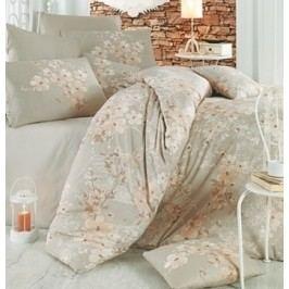 Homeville Povlečení 100% bavlna Elena béžová se dvěma povlaky na polštář - 140x220 / 50x70 + 70x90