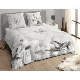 Descanso Luxusní saténové povlečení DESCANSO 9255 Xandrine 3D šedé květy - 200x200-220 / 60x70 cm