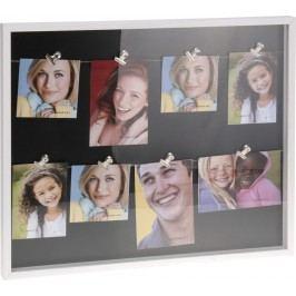 Rám na 8 fotek s kovovými kolíčky 51x43,5