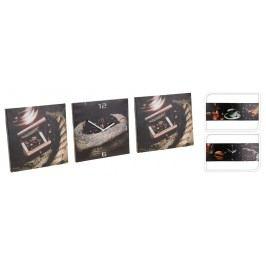 Sada obrazů s hodinami - motiv kávy 3x 30x30 cm - Varianta se šálkem a mlýnkem