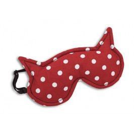 Leschi Maska na spaní kočka Luna 21x12cm červená s puntíky/černá