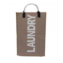 Home collection Prádelní koš s nápisem Laundry sv. hnědý 32x24x54cm