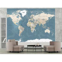 *Tapeta mapa světa vitage (250x175 cm) - Murando DeLuxe
