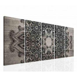 Obraz mandala černá krajka a dřevo (150x60 cm) - InSmile ®