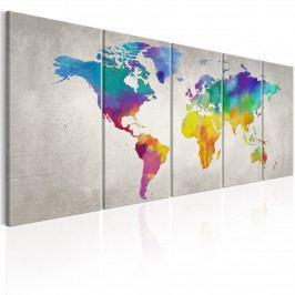 *Pětidílné obrazy na stěnu - barevná mapa světa (200x80 cm) - Murando DeLuxe