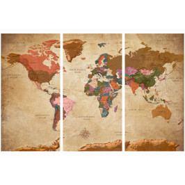 *Mapa na korkové tabuli - hnědá elegance (120x80 cm) - Murando DeLuxe