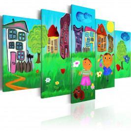 *Pětidílné obrazy - dětský svět (100x50 cm) - Murando DeLuxe