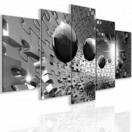 Obraz trojrozměrné šedé puzzle (150x75 cm) - InSmile ®