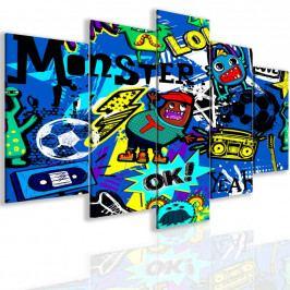 Pětidílný obraz bláznivé graffiti (150x75 cm) - InSmile ®