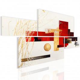 Murando DeLuxe Moderní obrazy - rovina s červeným a zlatým Velikost: 154x88 cm