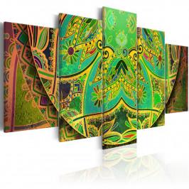 Murando DeLuxe Pětidílné obrazy - zelená Mandala Velikost: 200x100 cm