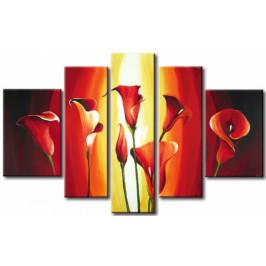 Murando DeLuxe Pětidílný obraz - plameny Velikost: 170x110 cm