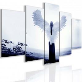 InSmile ® Pětidílný tmavě modrý andělský obraz Velikost: 150x75 cm