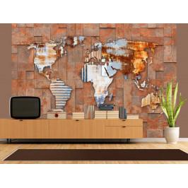 Murando DeLuxe Tapeta Mapa světa na kameni Rozměry (š x v) a Typ: 147x105 cm - samolepící