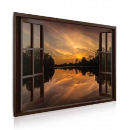InSmile ® Obraz okno večerní panoráma Velikost (šířka x výška): 30x20 cm