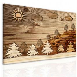 InSmile ® Imitace dřevěného obrazu - les Velikost (šířka x výška): 40x30 cm