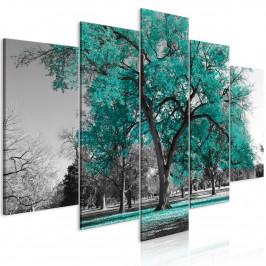 Murando DeLuxe Pětidílný obraz podzim v parku - zelený I Velikost: 200x100 cm
