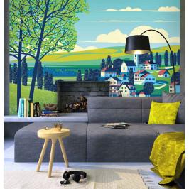 InSmile ® Tapeta malovaná vesnice Vel. (šířka x výška): 144 x 105 cm