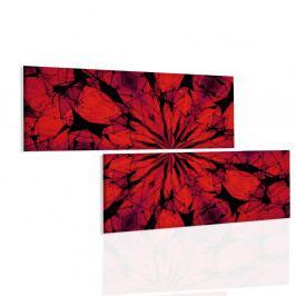 Obraz červené paprsky mandaly (200x110 cm) - InSmile ®