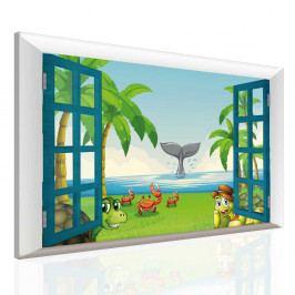 Dětský obraz zvířátka na pláži (150x100 cm) - InSmile ®