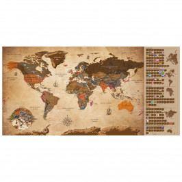 Stírací mapa světa vintage II (100x50 cm) - Murando DeLuxe