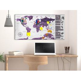 Stírací fialová mapa světa na korkové tabuli (90x45 cm) - Murando DeLuxe