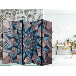 Paraván hvězdná mandala modro hnědá (225x172 cm) - Murando DeLuxe