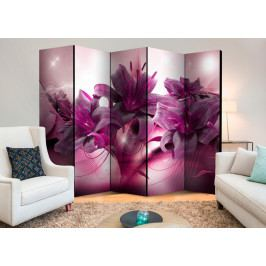 Paraván fialová lilie (225x172 cm) - Murando DeLuxe