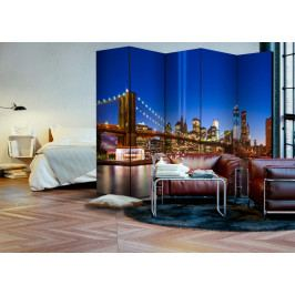 Paraván modrý New York II (225x172 cm) - Bimago