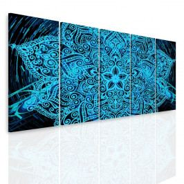 Vícedílný obraz - Modrá mandala v prostoru (150x60 cm) - InSmile ®