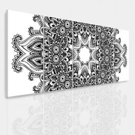 Vícedílný obraz - Černobílá mandala (150x60 cm) - InSmile ®