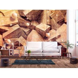 Tapeta betonové šestihrany - hnědá (150x105 cm) - Murando DeLuxe