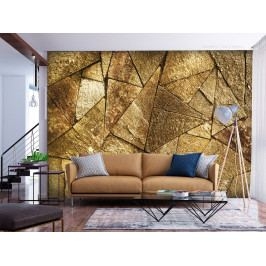 Tapeta kamenná dlažba - zlatá (150x105 cm) - Murando DeLuxe