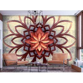 Mandala na kamenné stěně (200x140 cm) - Murando DeLuxe