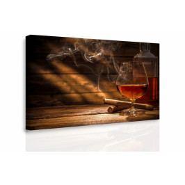Obraz - Whiskey a doutník (90x60 cm) - InSmile ®