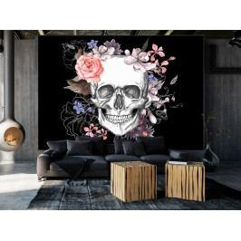 Tapeta lebka a květy (150x105 cm) - Murando DeLuxe