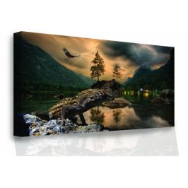 Obraz - Řeka se zvířaty (60x40 cm) - InSmile ®