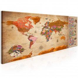 Mapa světa: národní vlajky (120x60 cm) - Murando DeLuxe