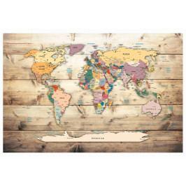 Mapa na korkové tabuli - dřevěné oceány (90x60 cm) - Murando DeLuxe