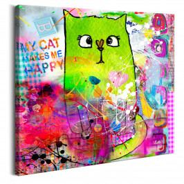 Zelená kočička (80x80 cm) - Murando DeLuxe