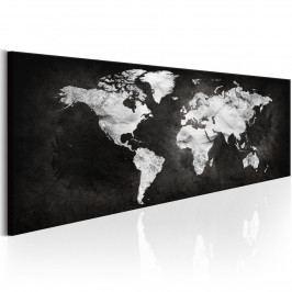 Černobílá mapa světa (135x45 cm) - Murando DeLuxe