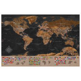 Mapa na korkové tabuli - bronzová mapa s vlajkami (90x60 cm) - Murando DeLuxe