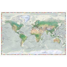 Mapa na korkové tabuli  - zajímavá mapa s vlajkami (90x60 cm) - Murando DeLuxe
