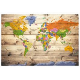 Mapa na korkové tabuli - mapa na dřevě s barevnými cestami (90x60 cm) - Murando DeLuxe