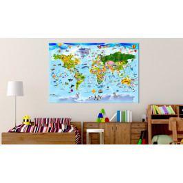 Mapa na korkové tabuli - barevné cestování (90x60 cm) - Murando DeLuxe