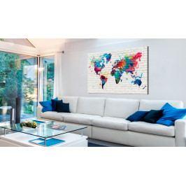 Mapa na korkové tabuli - barevné stěny (90x60 cm) - Murando DeLuxe