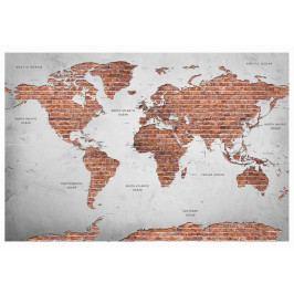 Mapa na korkové tabuli - cihlová mapa (90x60 cm) - Murando DeLuxe