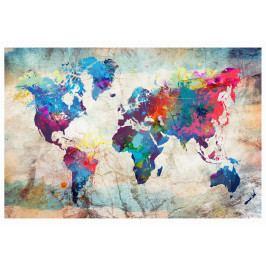 Mapa na korkové tabuli - barevné šílenství na mapě (90x60 cm) - Murando DeLuxe