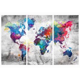 Mapa na korkové tabuli - barevné kontinenty (90x60 cm) - Murando DeLuxe