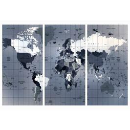 Mapa na korkové tabuli - mřížkovaná mapa (90x60 cm) - Murando DeLuxe